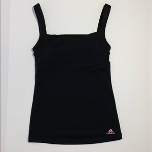 Adidas Black Workout Tank with guilt in sports bra